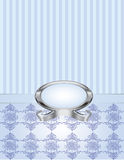 Blue Pearl with Pinstripe and Damask. A blue pearl frame with pinstripe and knotted damask background Royalty Free Stock Photo