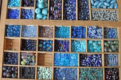 Blue pearls and beads Stock Images