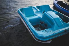 Blue Pedalo at Lake Royalty Free Stock Photo