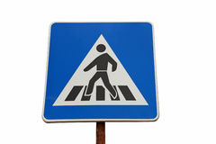 Blue Pedestrain Crossing Sign Royalty Free Stock Photos
