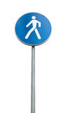 Blue pedestrian road sign isolated on white Stock Photography