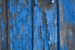 Blue peeling paint on wood Royalty Free Stock Photo