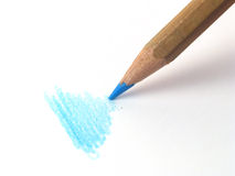 Blue pen. Close-up of blue pen drawing Royalty Free Stock Image