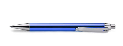 Blue pen. Blue ballpoint pen isolated on white Stock Photography