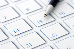 Blue Pen on calendar 1 Royalty Free Stock Image