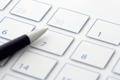 Blue Pen on calendar 3 Royalty Free Stock Photos