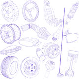 Blue pen of car parts icon Stock Image