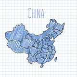 Blue pen hand drawn China map vector on paper stock illustration