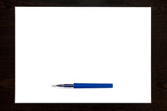 Blue pen Isolated on a white paper sheet Royalty Free Stock Photography