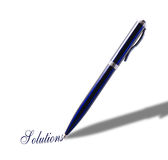 Blue pen with a message Stock Photo