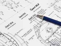Blue Pen On A Technical Drawing Stock Photography