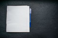 Blue pen and white notebook in a cage on a black background close-up royalty free stock images