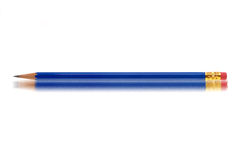 Blue pencil. Side view of blue pencil with eraser on end reflecting on white surface stock photos