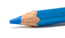 Blue pencil. Is isolated on a white background stock photos