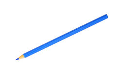 Blue pencil. Isolated on white background royalty free stock photos