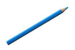 Blue pencil. A blue pencil on a white background stock images