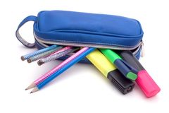 Blue Pencil Bag Royalty Free Stock Photography
