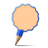 Blue pencil blank paper icon Stock Photography