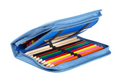 Blue pencil case. A blue pencil case isolated on white background royalty free stock photos