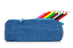 Blue pencil case Royalty Free Stock Photo
