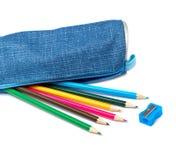 Blue pencil case stock images