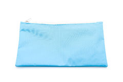 Blue pencil case on white. Background royalty free stock image