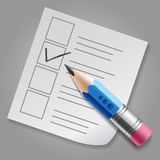 Blue pencil and checklist Stock Image