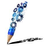 Blue pencil creative with gears. Royalty Free Stock Image