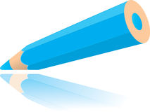 Blue pencil drawing line vector illustration Stock Image