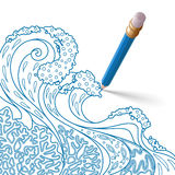 Blue pencil with eraser draws a pattern Stock Images