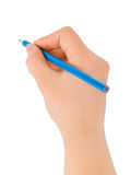 Blue pencil in hand Stock Images