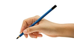Blue pencil in  hand Royalty Free Stock Images