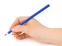 Blue pencil in hand. Isolated on white background royalty free stock photography