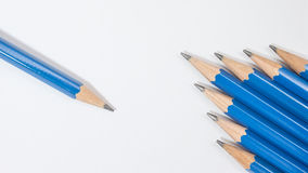 Blue pencil holder Royalty Free Stock Photo