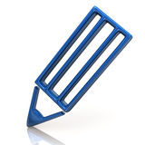 Blue pencil icon Stock Images