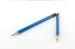 Blue pencil. Isolated on white background Stock Photos
