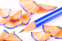Blue pencil isolated on white background Stock Photo