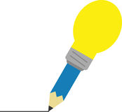 Blue pencil with light bulb tip drawing line. Vector blue pencil with yellow light bulb tip drawing line Royalty Free Stock Photo