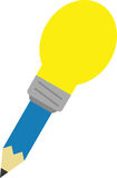 Blue pencil with light bulb tip. Vector blue pencil with yellow light bulb tip Royalty Free Stock Image