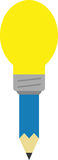 Blue pencil with light bulb tip. Vector blue pencil with yellow light bulb tip Royalty Free Stock Photography