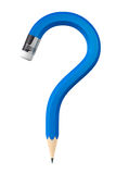 Blue Pencil question mark Stock Photo