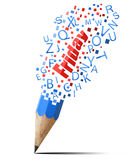 Blue pencil with red Friday. Stock Images