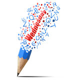 Blue pencil with red Wednesday. Stock Photo