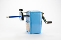 Blue pencil sharpener Royalty Free Stock Photo