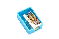 Blue pencil sharpener Stock Images