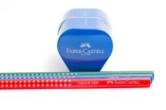 Geneva/switzerland-09.09.18 : Faber castell pencils colour grip sharpener. Blue pencil sharpener Faber castell isolated on white stock photos