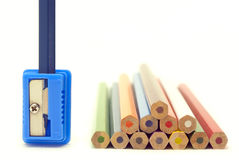 Blue pencil in a sharpener Stock Images