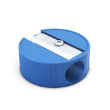 Blue pencil sharpener on a white Stock Image