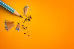 The blue pencil on yellow orange background ,creative innovation Stock Photography