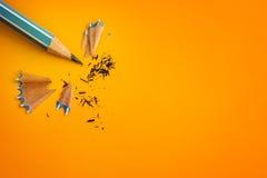 The blue pencil on yellow orange background ,creative innovation Stock Photo